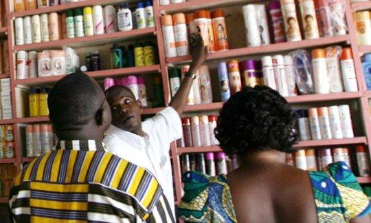 Customers buy cosmetics
